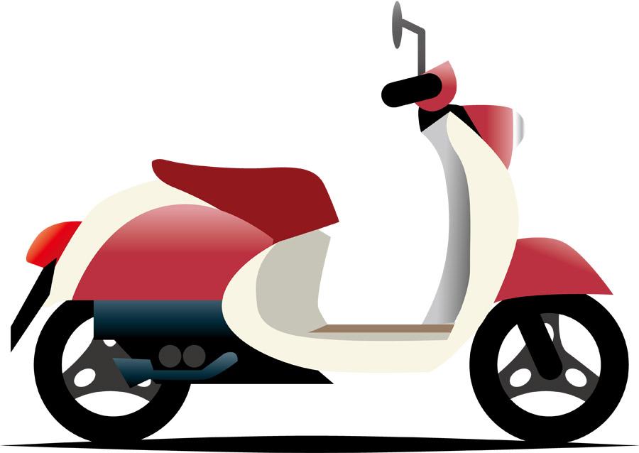 赤と白のスクーター