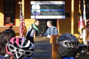 Chief Davis and BikeAAA's  Jon Korin at Lifeline100 Announcement