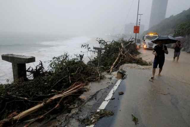 Ciclovia Tim Maia, no Rio de Janeiro, após fortes chuvas - Foto REUTERS - Sergio Moraes