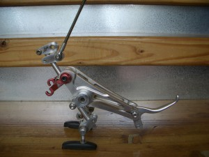 Dinosaur sculpture made from discarded bike parts