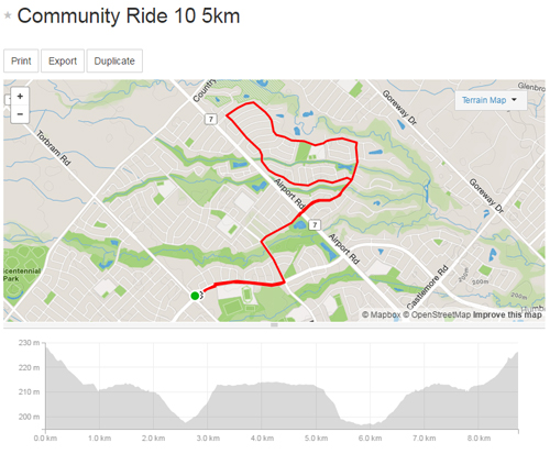 Community Ride 10 -5km Map