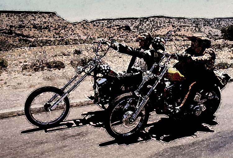 stylized motorcycling