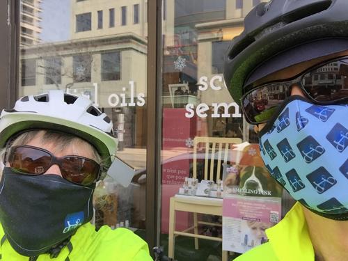 BikeBrampton delivering Smelling Pink postcards