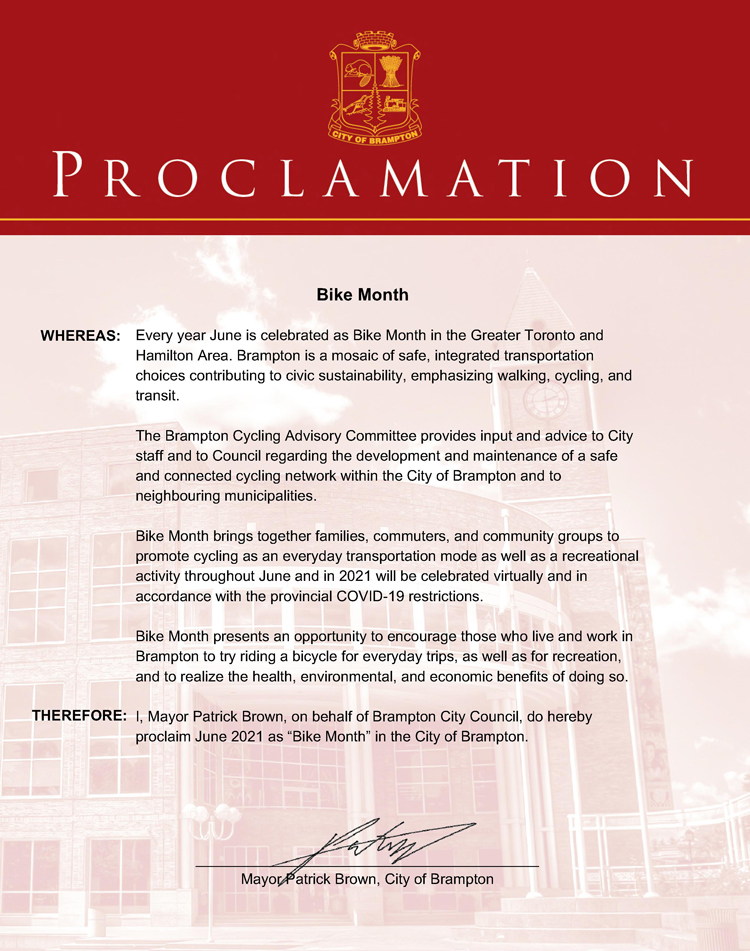 June is Bike Month Proclamation 2021
