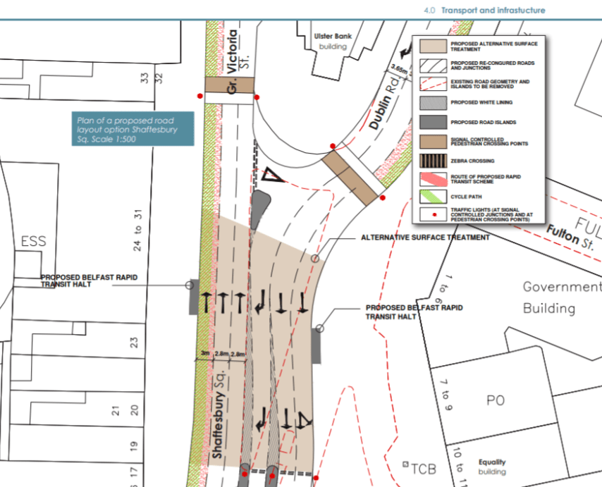 Plan of a proposed road layout option for Shaftesbury Square