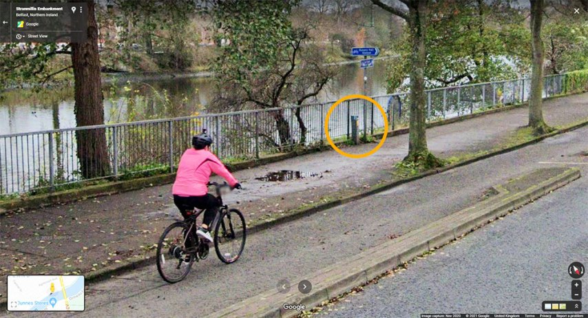 DfI cycle counter box visible to the side of the Stranmillis Embankment cycleway