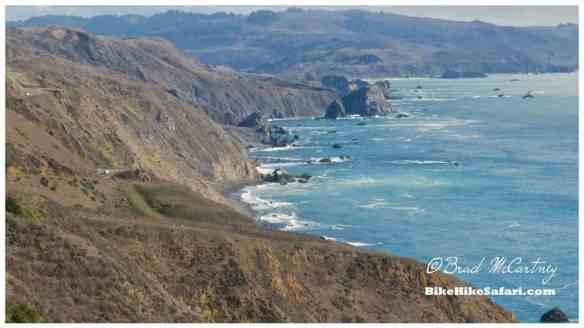 The road hugs the coast