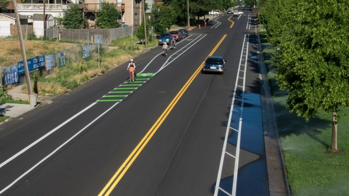 The new protected lanes along 29th Ave