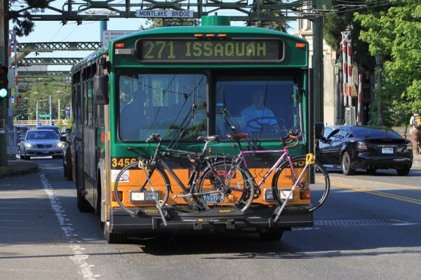 Bus with bikes, public transit,
