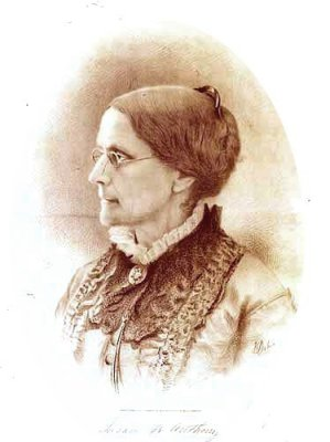 Susan B. Anthony, a leader in the women's rights movement and advocate of the bicycle.