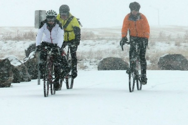 winter cyclists, winter biking, biking, snow biking