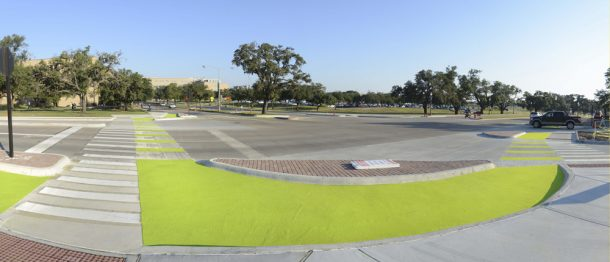 The newly redesigned intersection of Ross and Bizzell at Texas A&M University
