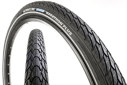 These Schwalbe Marathon Plus tires come in sizes from 25mm to 45mm.