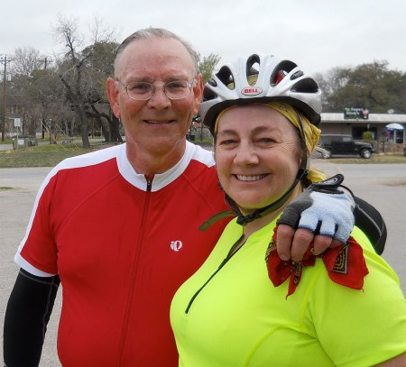 Bike Noob and Maggie at a rest stop in Buda. (Click pix to embiggen.)