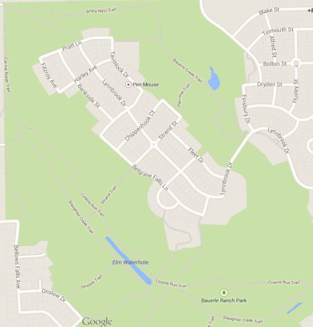 Bauerle Ranch from Google Maps. Most of the major trails are marked.