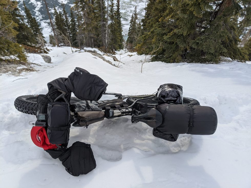 Prototype testing on a fatbike in winter alpine conditions