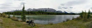 Bike touring on a section of the Tour Divide route in Peter Lougheed Provincial Park, Alberta, Canada.