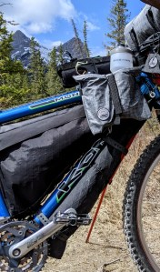 FenderBag loaded with spares and a MSR Carbon Reflex 1 tent.
