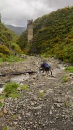 Nejtěžší část Rimutaka trailu. Brodění malého potoka.