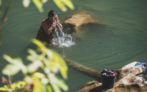 A River is a bathroom in Laos