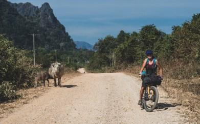Šotolinová cesta z vesnice Phon Kham
