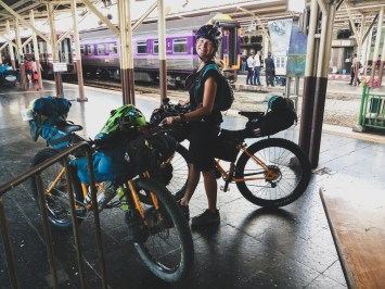 Checking in our bikes into train to Phitsanuloke