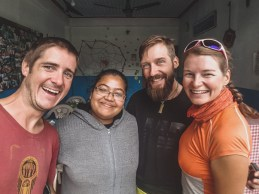 Saying bye to our Lassi Lady. Pokhara, Nepal