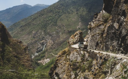 A Truck above the deepest gorge in the world. Ghasa, Nepal