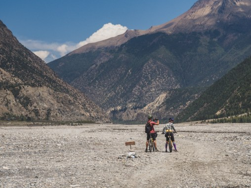 Gary and Dasha in a riverbed of Lower Mustang. Jomsom, Nepal