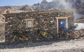 Shelter and the bikes. Muktinath, Nepal