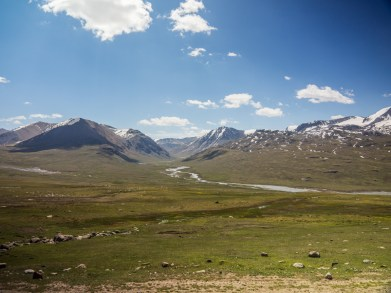 It's good look back. Tosor Pass, Kyrgyzstan