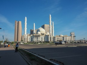 Mosque in morning sun. Astana, Kazakhstan