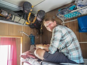 We managed to fith a bikes into tiny compartments. Train to Moscow, Kazakhstan