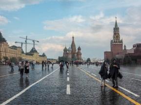 Rudé náměstí po dešti. Moskva, Rusko