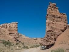 Climbing in the Canyon. Charyn Canyon, Kazakhstan