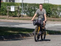 Sebastian trying Dasha's bike. Joensuu, FInland