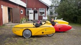 Zkouška velomobilů. Vittangi, Švédsko