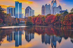 Atlanta, Georgia during the Fall by the lake
