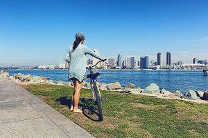 Woman with Bike at Bike San Diego Bay