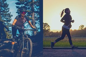 woman riding a bike in the forest and woman running in the park