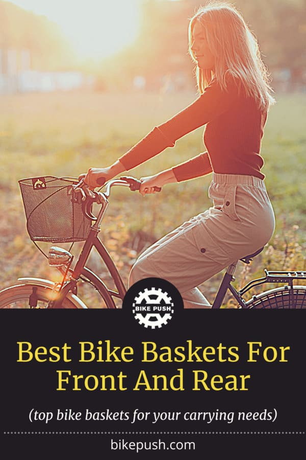 Pinterest image for the best front and rear bike baskets on Bike Push