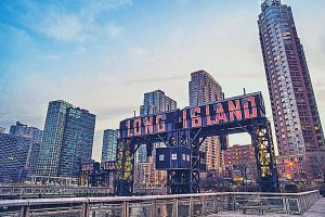 Long Island sign at the Pier near Gantry Plaza State Park, New York City