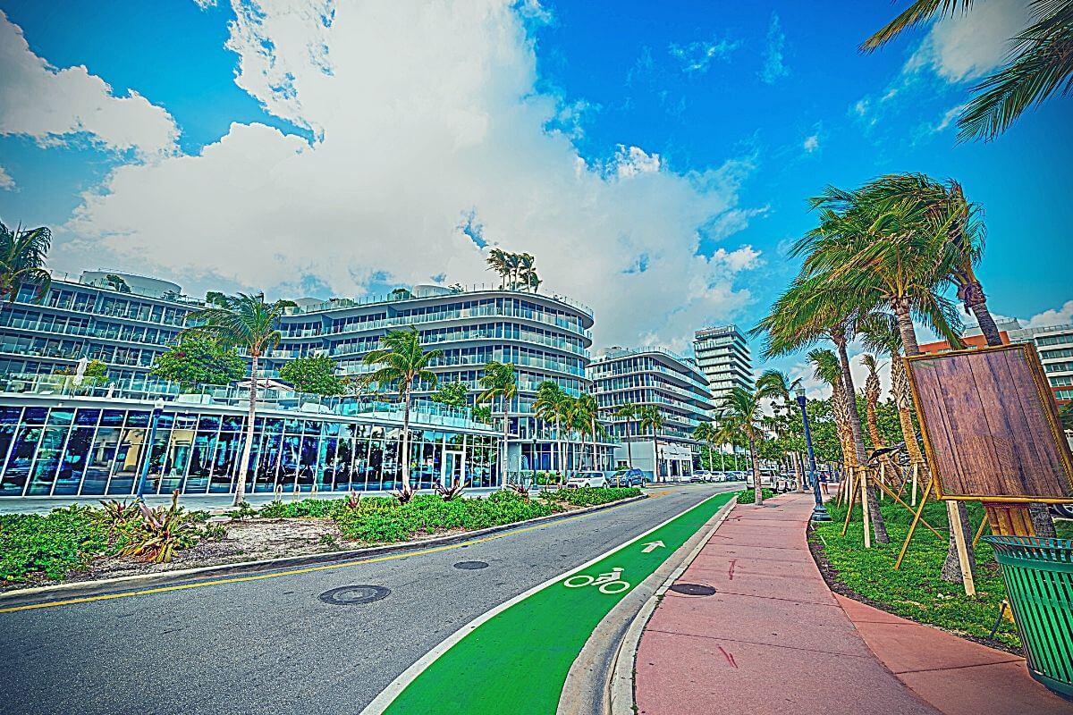 bike lane in Miami Beach, Southern Florida, USA
