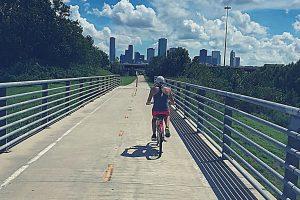 Riding a bike towards Houston