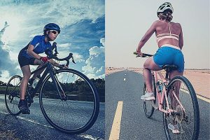 women riding a road bike and hybrid bike on the road