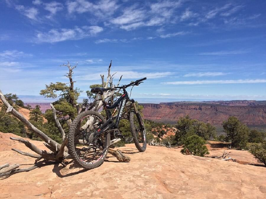 black bicycle on Upper Porcupine Rim Trail, Moab Field Office on a very hot day - Flickr image