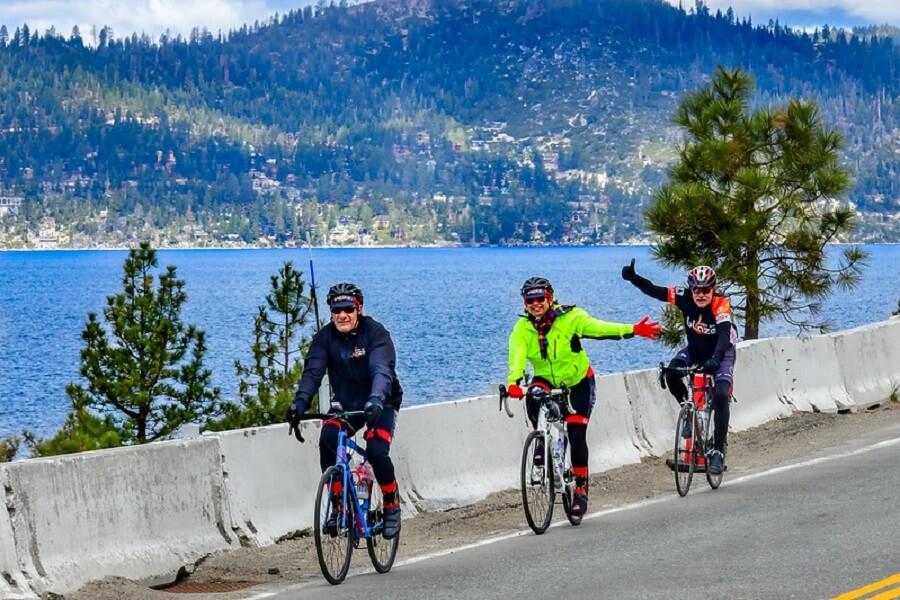three senior cyclists biking around Lake Tahoe in Sacramento - Flickr image