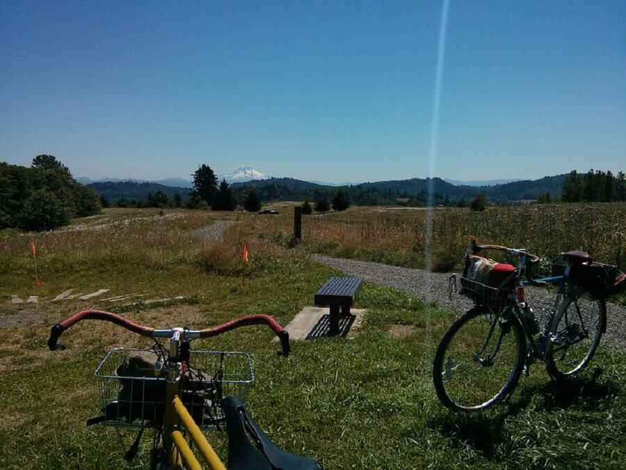 two parked bicycles at Powell Butte Nature Park in Portland