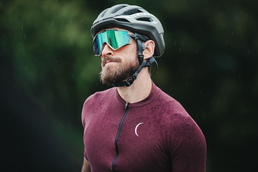 Cyclist Wearing Breathable Nano-Perforated Jersey