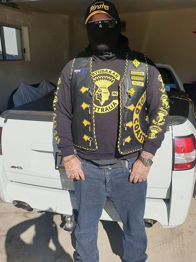 Pictured: The president of Satudarah's Gold Coast chapter, who identified himself as 'Salvatore'